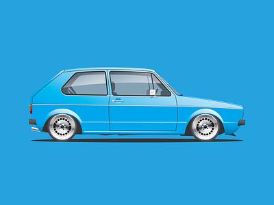 '76 VW Golf design logo vector illustration graphicdesign