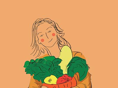 Flat illustration of a girl adobe illustrator graphic design digital illustration illustration