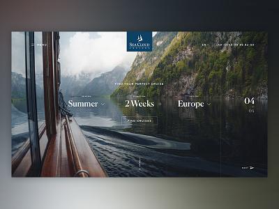 Seacloud Stage #04 ui design website branding modules luxury clean sea travel adventure