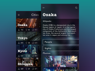 City Explorer app city minimalism ui ux interface profile sidemenu feed application dashboard app ios