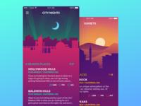 Skydeck App design color background sunset application ios ui ux interface illustration flat app