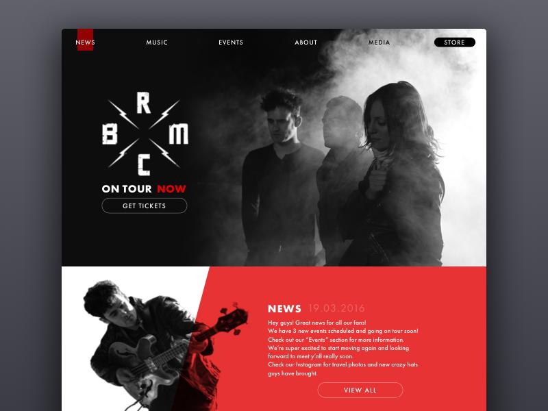 BRMC Website concept clean design landing music ux ui minimal website web
