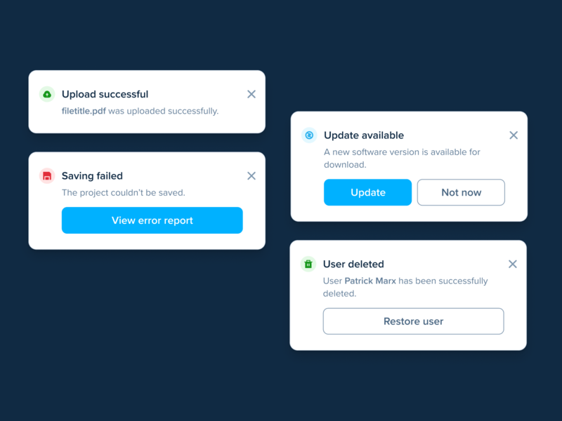 Notifications – Digital Publishing Software ux ui dark mode alert user interface toast success software overlay minimal help notification feedback error clean app