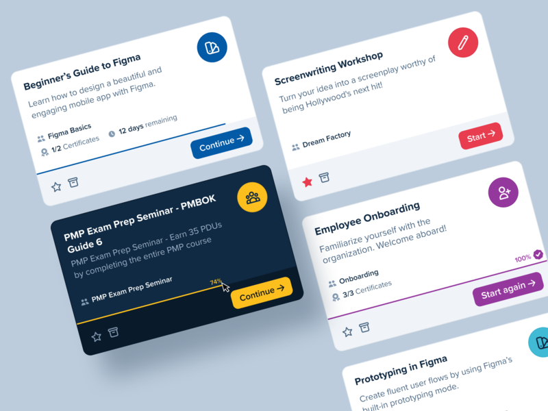 Course Cards – Learning Platform web app ux progress tiles card colorful portal learning academy course user interface ui software minimal cards clean app