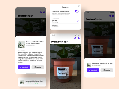 Product Scanner options photo shop cart barcode scanner ios ux user interface ui toast success software overlay notification minimal feedback clean app alert