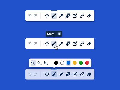 Toolbars minimal clean ui app overlay popover tooltip edit drawing controls bottom bar navigation colorpicker tabs menu ux floating shapes user interface design toolbar