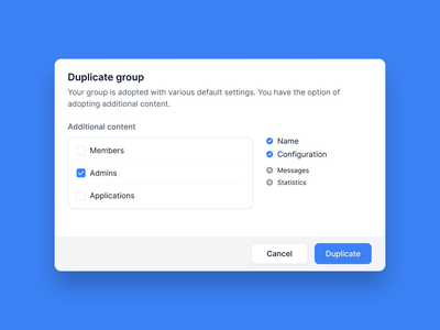 Duplicate Group overview group checkbox copy duplicate dialog modal software user interface ux app ui clean minimal