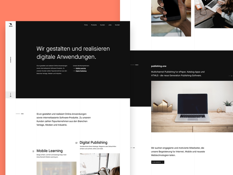 ID.on – Website – Redesign Exploration 2 ux interface design webdesign ui writing typography website minimal clean agency bold monochrome company header products