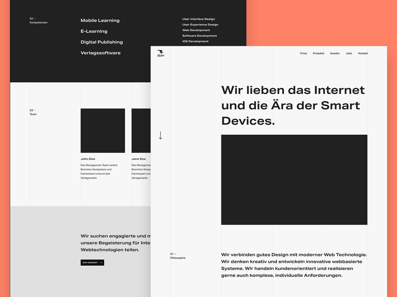 ID.on – About – Redesign Exploration about extended ux interface design webdesign ui typography website minimal clean agency bold monochrome company header