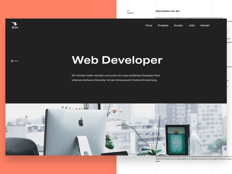 ID.on – Job Detail – Redesign Exploration apply job header company monochrome bold agency clean minimal website typography ui webdesign interface design ux extended