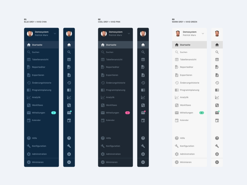 Publisher Software – Web App – Sidebar Color Schemes menu navigation menu sidebar menu web application user interface dashboard dark app web app navigation sidebar ux minimal clean interface design ui color scheme