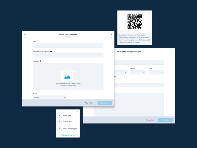 App Production System – Web App – Modals & Popover event select form create upload inputs dialogue popover modal switcher qrcode web application user interface app web app ux minimal clean interface design ui