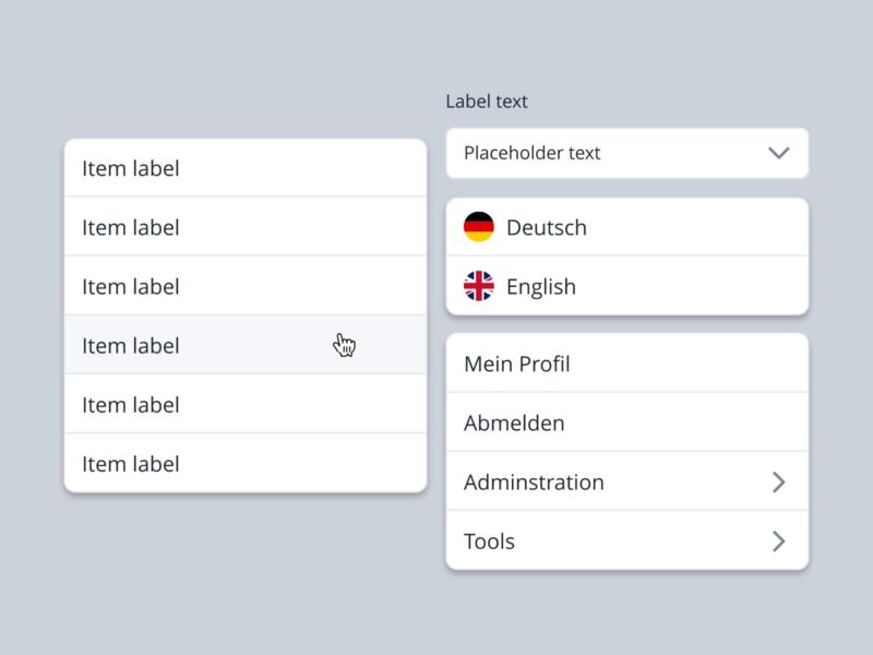 Select and Dropdowns - Learning Platform menu picker list dropdown select clean minimal user interface ui application web studio