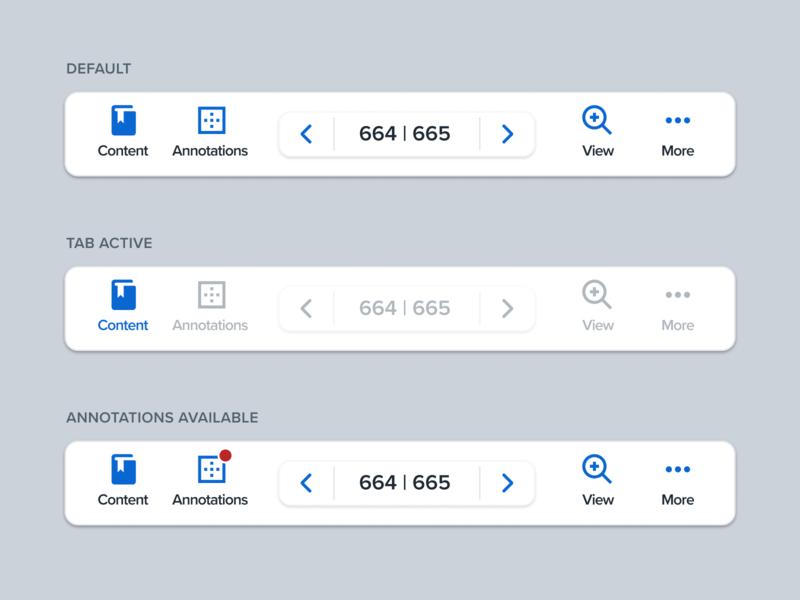 Tab/Navigation Bar – Reader bottom nav bottom bar tabs navigation user interface ui software pagination overlay minimal controls clean app