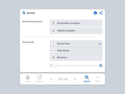 View Controls view settings options menu zoom user interface ui tabs software pagination overlay navigation minimal controls clean bottom nav bottom bar app