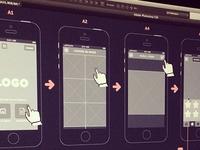 Wireframes for sticker app
