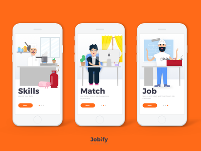 Jobify Onboarding Illustrations app onbording onbording illustration job finder job app onbording jobify