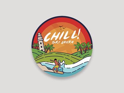 Chill Sri Lanka ceylon colombo surfing beach sketch design contest stickermule dribbble cmb illustration asithwijenayake asith colombo dribbble meetup sri lanka