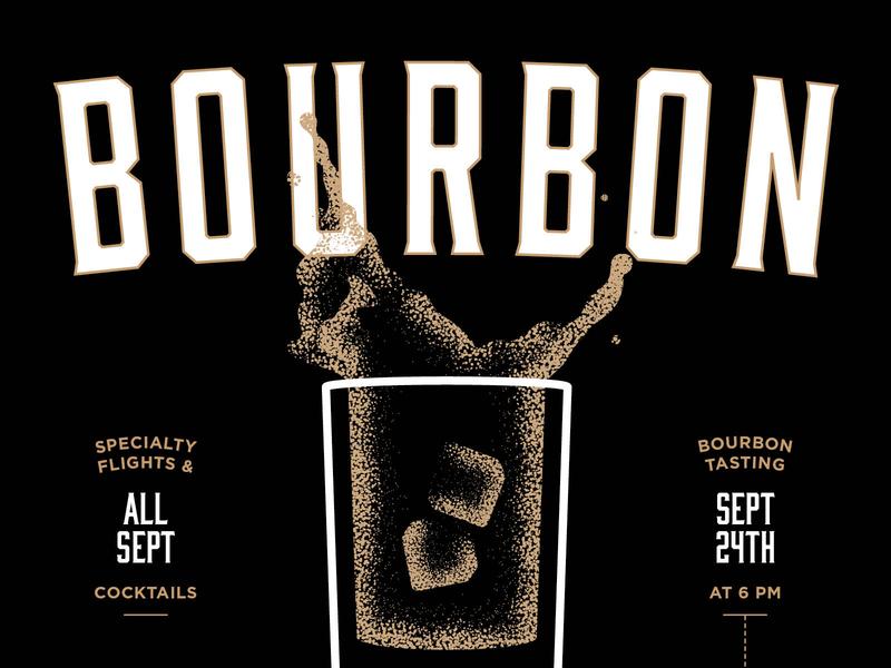 Bourbon Month stippling illustration gold black prohibition whiskey month bourbon