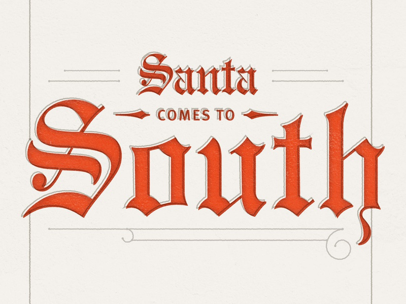 Santa Comes to South script title design victorian linework texture title engravers old english santa claus santa