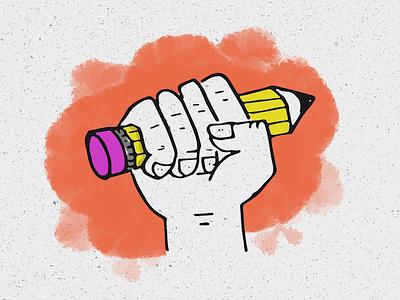 Pencil Power drawing sharpie hand fingernail excited fist ticonderoga number 2 orange illustration paint pencil