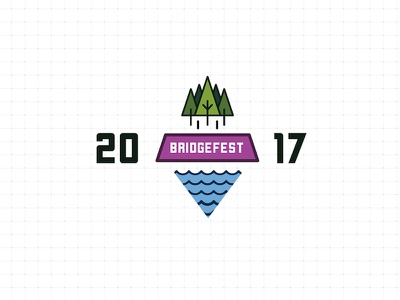 BridgeFest 2017 event hiking outdoorsy badge bubbly design trees water nature logo