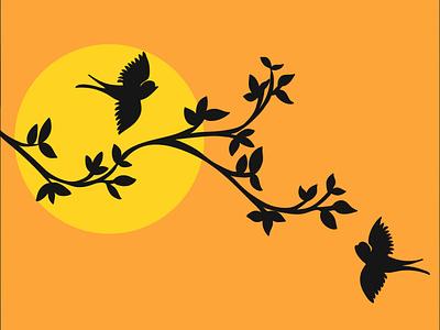 sunset birds background art logo illustration branding app vector minimal graphic design