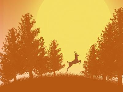 sunset in a forest illustrator icon app typography minimal branding illustration design vector graphic design art