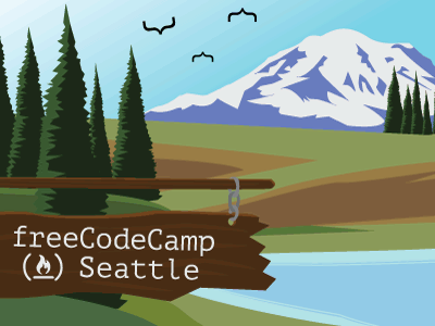 freeCodeCamp Seattle mt. rainier seattle illustration code camp