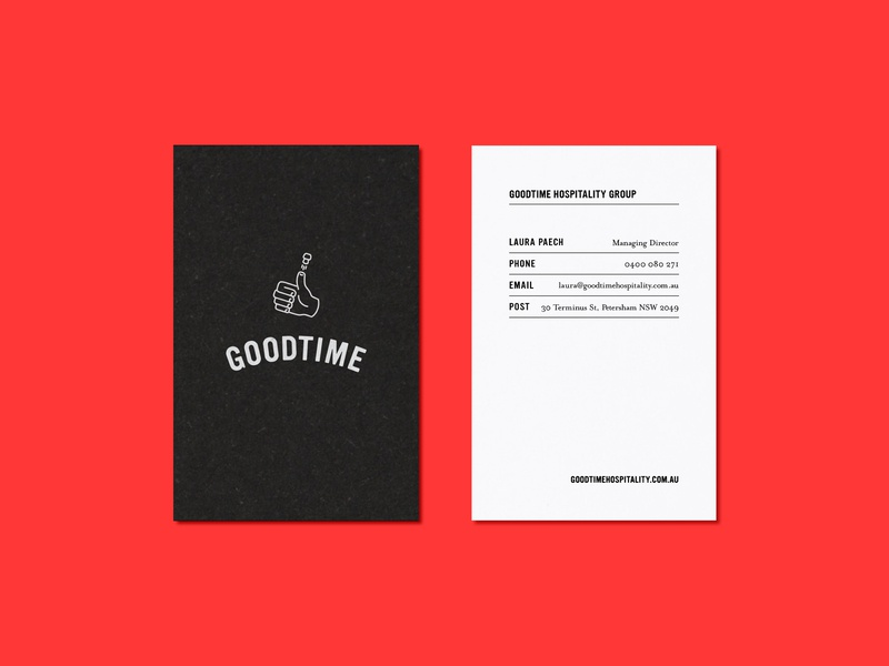 Goodtime Business Card brand identity archive throwback thumbs up goodtime typography business card branding design