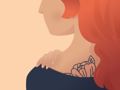 Tattooed Woman sideshot hand finger shoulder redhead woman tattoo