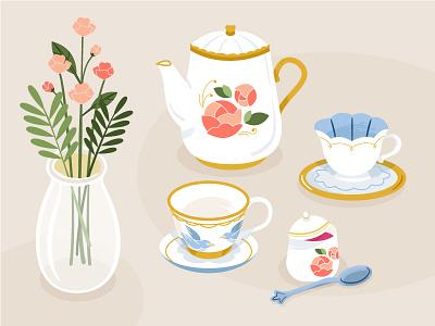 1/2 Afternoon Tea tea flowers bouquet flower vase vase jam cup teacup teapot high tea afternoon tea