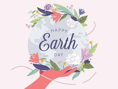 Earth Day illustration bouquet floral environment globe flowers nature earth earth day