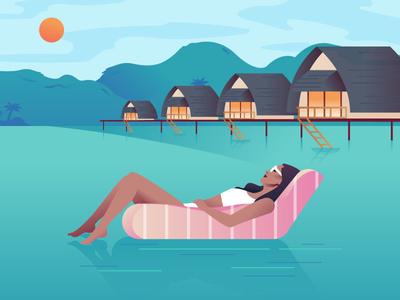 Fiji Islands vector illustration relaxation woman vacation pool floaty beach suntanning tropical islands fiji