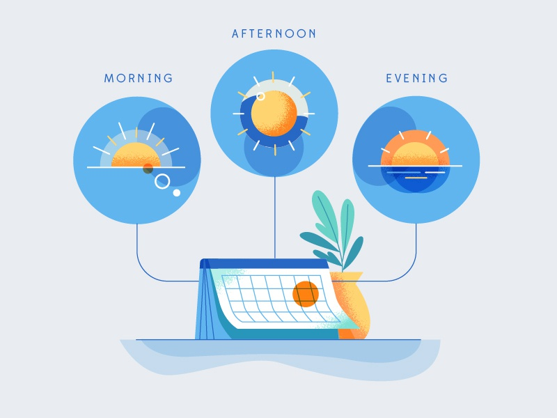 Scheduling timing sunrise sunset identity branding illustration app ripple time of day afternoon evening morning calendar tasks schedule
