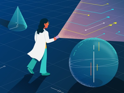 Research Findings woman vector visual design brand unknown discovery pathways scifi explore flashlight abstract scientist researcher data illustration findings research
