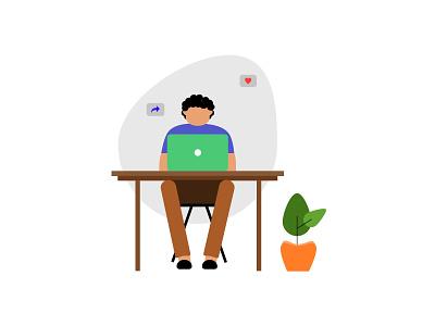 man illustration vector ui working illustrator illustration office illustration