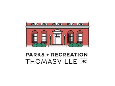 Thomasville Parks + Recreation Logo downtown north carolina minimal vector line art icon flat design illustration