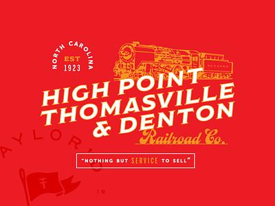 High Point Thomasville & Denton Railroad Co. Shirt railroad train shirt north carolina lettering vector design illustration