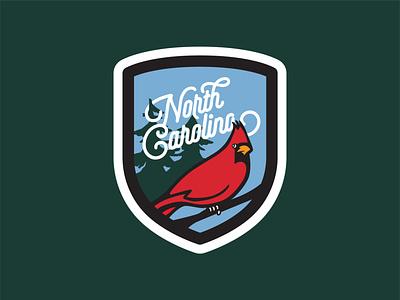 North Carolina Cardinal Patch typography badge design cardinal patch badge lettering north carolina flat vector design illustration