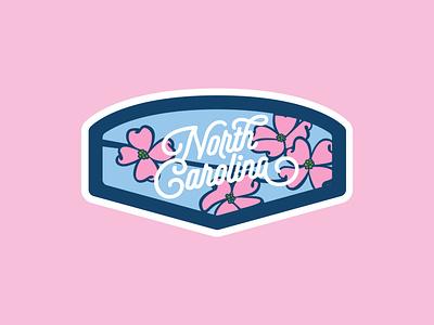 North Carolina Dogwood Patch flower badge design patch badge north carolina lettering vector design illustration