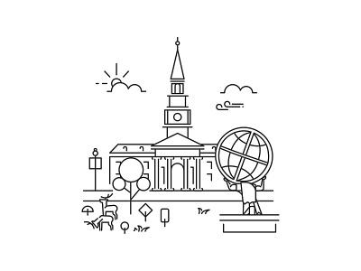 High Point University Line Art Illustrations line art minimal flat icon vector logo design illustration