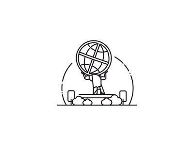 High Point University Line Art Illustrations - Atlas vector minimal line art illustration icon flat design