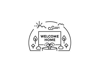 High Point University Line Art Illustrations - Welcome Home vector minimal line art illustration icon flat design