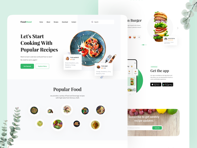 Food Cooking Inspiration Website 🍔 clean design clean ui clean food app recipe app recipes recipe foodie food food and drink website design webdesign web design website web ui  ux uiux uidesign ui design ui
