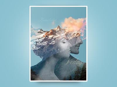 Poster india vedas yoga meditation photo manipulation double exposure photoshop poster
