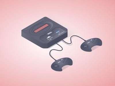 Sega Mega vintage retro game sega genesis illutration isometric