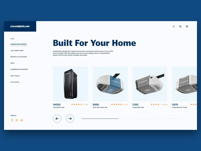 Carousel and Product Page full page slider desktop garage parallax smarthome product carousel design website ux animation