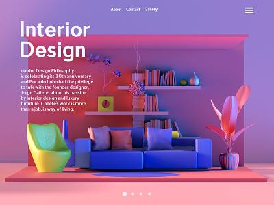 Interior Gallery Page architecture interior design design art web icon ux ui art vector illustration branding inspiration cinema4d