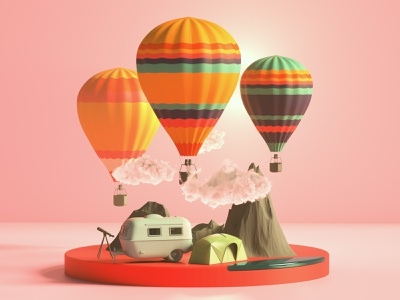 Camping redshift3d cinema4d designs branding icon web website ui 3d art c4d render modeling 3dillustration design ux illustration redshift 3d modeling 3d artist 3d